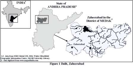 Map showing location of Dalit