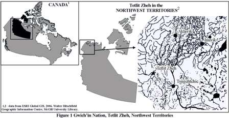 Map showing location of Gwich'in