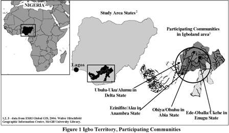 Map showing location of Igbo