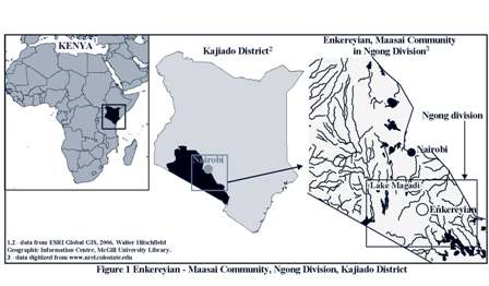 Map of Location of Maasai Tribe
