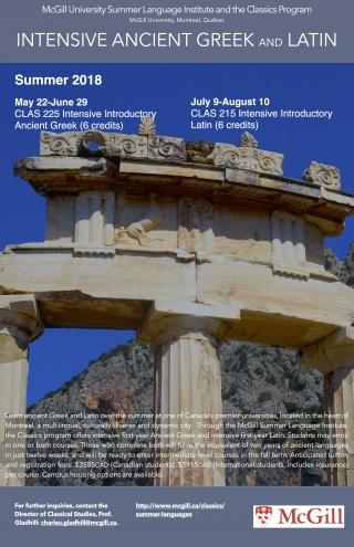 summer intensive language program classical studies mcgill