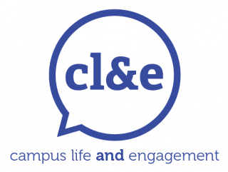 "Campus Life and Engagement Logo - Blue circle with blue letters ""cl&e"" inside the circle"