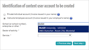 Identification of content user account to be created - McGill