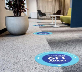 Floor decals in an office