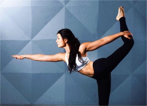 a student doing yoga