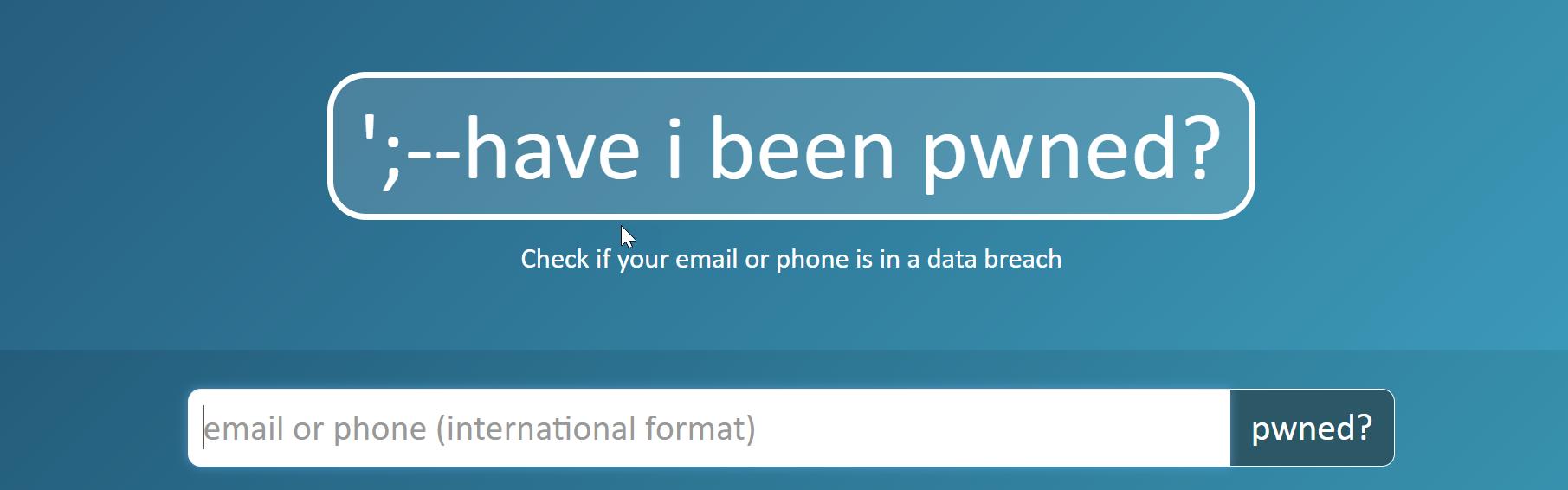 Screenshot of login screen for Have I Been Pwned website