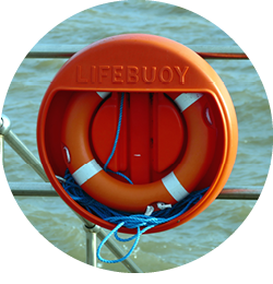 A life preserver on a boat