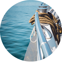 Ropes slung over the side of a boat