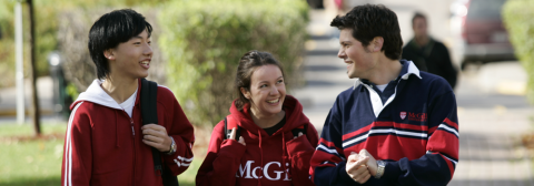 Students on campus wearing McGill sweatshirts