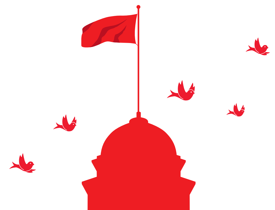 Graphic of McGill's flag with martlets flying around it