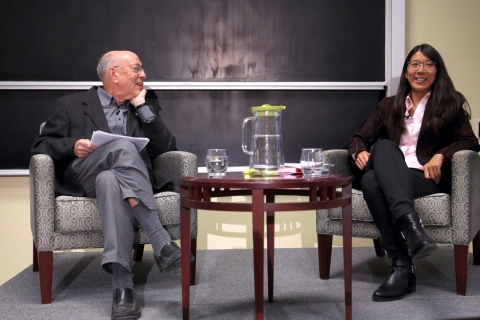 Prof. Henry Mintzberg, John Cleghorn Professor of Management Studies at the Desautels Faculty of Management in dialogue with Dr. Joanne Liu (MDCM'91, MMGMT'14), International President of Doctors Without Borders / Médecins Sans Frontières.