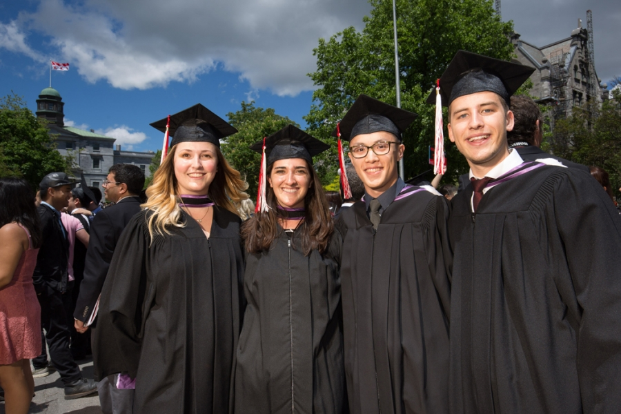 Rachel Burk, BCom'17 and President of the MUS; Claire Porter, BCom'17; Raymond Chan, BCom'17 and Jordan Bonneville, BCom'17
