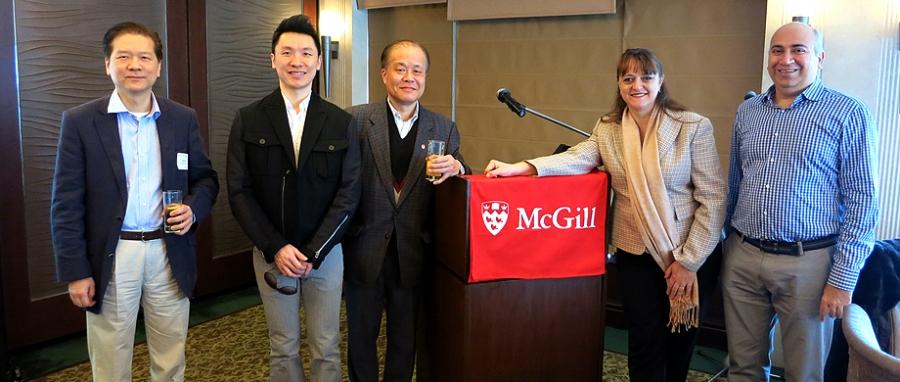 Dean Bajeux-Besnainou with McGill alumni in Hong Kong