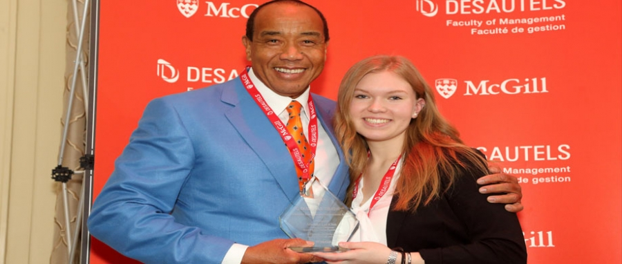 Michael Lee-Chin, Executive Chairman, Portland Investment Counsel Inc. , 2015 DMAA recipient and BCom student, Jennifer Pepper.