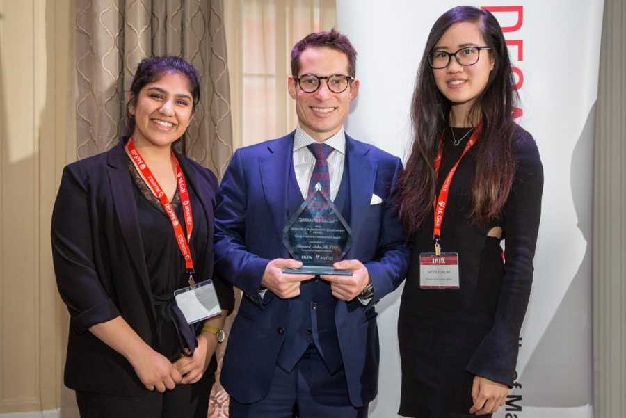 From left to right: BCom student Megha Rahi, recipient of the Young Inspiration Achievement Award Daniel Saks (BA'07), President and Co-CEO, AppDirect, and BCom student Nicole Shum
