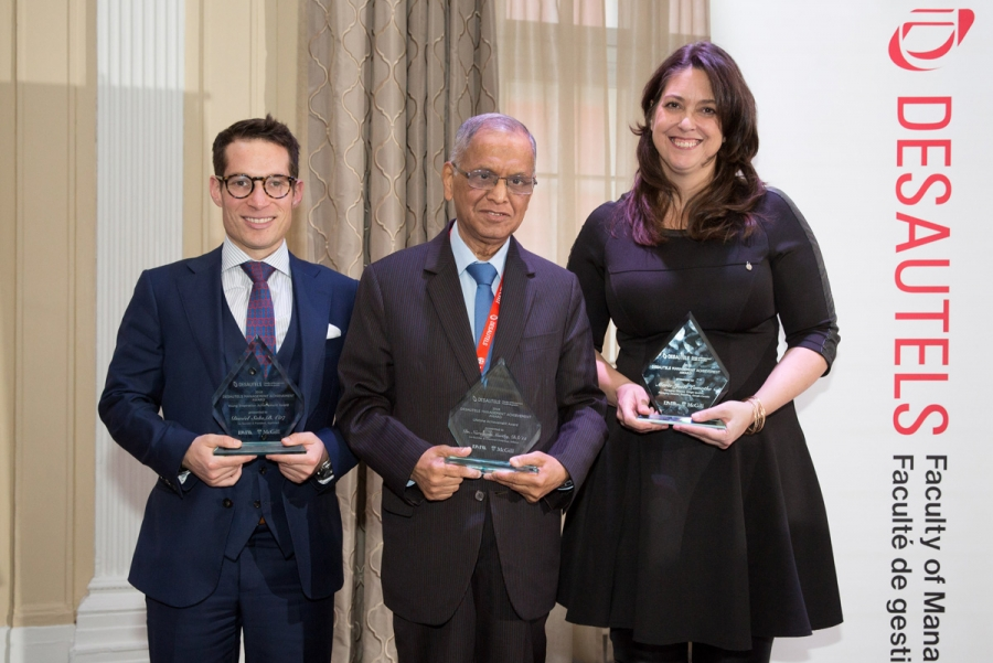 From left to right: Winners of the 2018 Desautels Management Achievement Awards (DMAA), Daniel Saks (BA'07), President and Co-CEO, AppDirect, Narayana Murthy (DSc'15), Co-Founder and Chairman Emeritus Infosys, and Marie-Josée Lamothe, Managing Director, Google QC and Managing Director Branding, Google Canada
