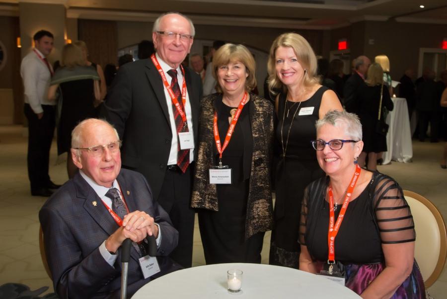 John Baker (BCom'47), Joe Iogel, Mona Aronovitch (BCom'67), Heather Hopkinson, Heather Khoury (BSc'79)