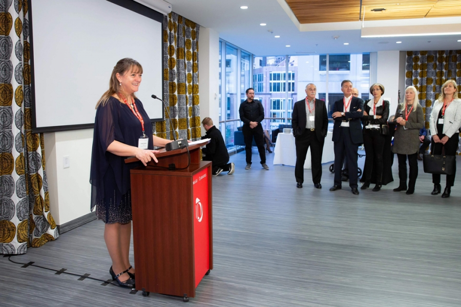Dean Bajeux welcomes Alumni in New Donald E. Armstrong Building