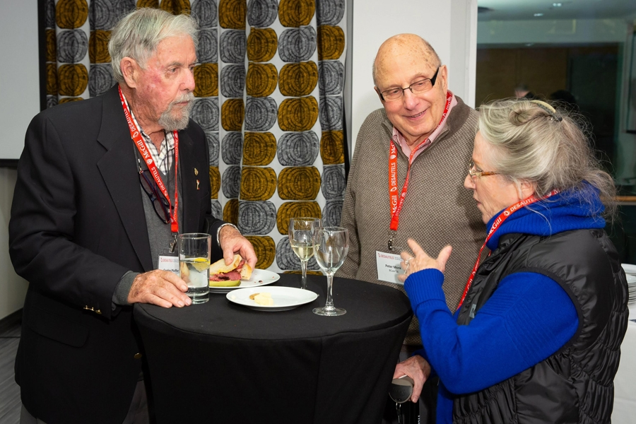 Gordon Pfeiffer (BCom'48), Peter Monk (BCom'58), Joan Monk (BA'58)