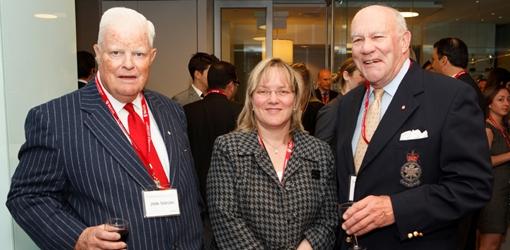 John Dobson, BCom '49, Susanne Major, Development Officer, Dennis Dwyer, BCom '59, BTh '80 (Owen Egan)