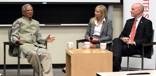 Dr. Yunus discusses with Celine Junke & Mike Ross