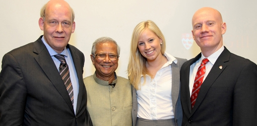 Prof. Moore, Dr. Yunus, Celine Junke and Mike Ross