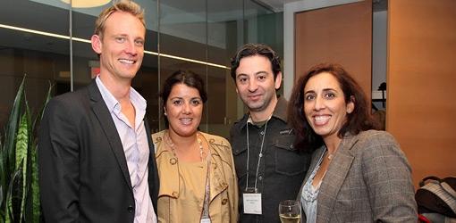 Ron Duerksen, MBA'01, Director of Marketing and Communications, Celia Fernandes, MBA '01, Rob Radinov, MBA'01, and Kataneh Sherkat, MBA'01 (Owen Egan)