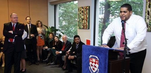 Sebastien Manigat (MBA'13), former President of the Desautels Graduate Student Society, addressing fellow graduates (Photo: Owen Egan)