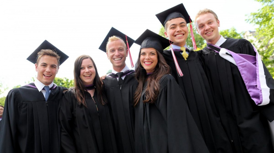 BCom graduates of 2014 (left to right): Charles Lailey, Rosalie Lesser, Sean Leslie, Chloe Beaulieu, Joshua Kimsa, Ben Veldman (Photo: Owen Egan)