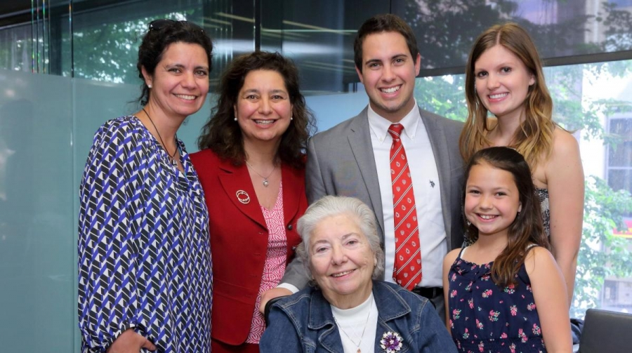 Marc Bruyere (BCom'14) with friends and family. (Photo: Owen Egan)