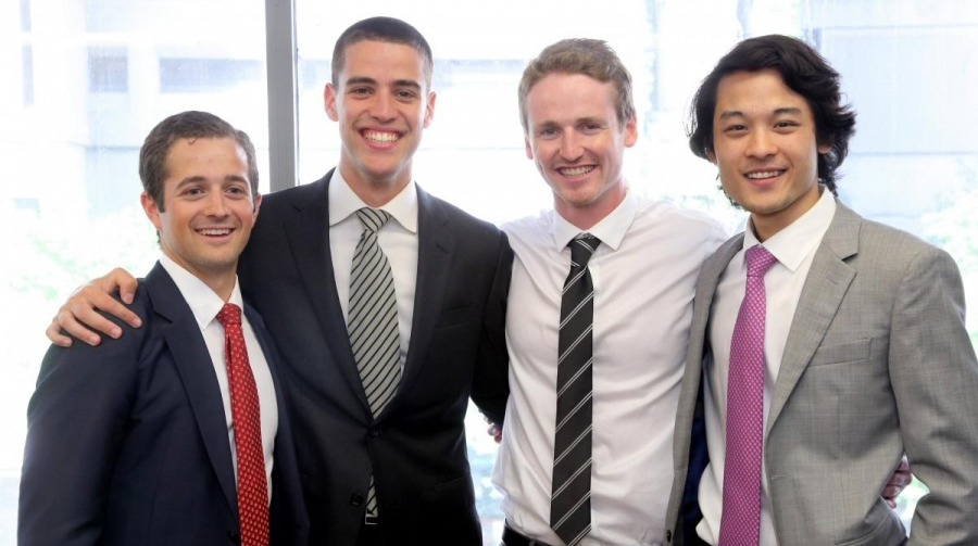 BCom'14 graduates in the Honours in Investment Management Program (left to right): Nicholas Di Giorgio, Mak Doric, Nicholas Bigelow, Alan Ang (Photo: Owen Egan)