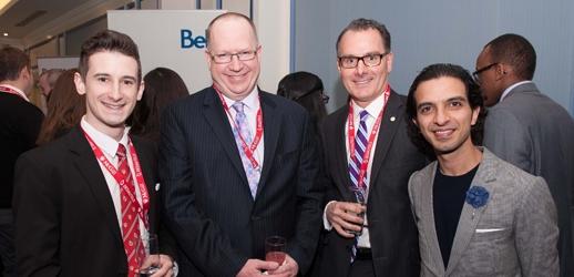 BCom student Joel Taillefer, Dean Peter Todd (BCom'83), and Imran Amed (BCom'97)