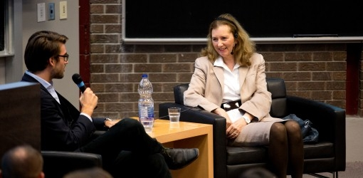 Student Gijs Leenders speaks with Mary Gordon, Social Entrepreneur & Founder of Roots of Empathy, at the Social Economy Initiative event, presented by the Marcel Desautels Institute for Integrated Management.