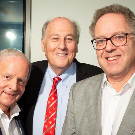 Professor Elliot Lifson, Professor Morty Yalovsky and Marc Weinstein, Vice-Principal, University Advancement.