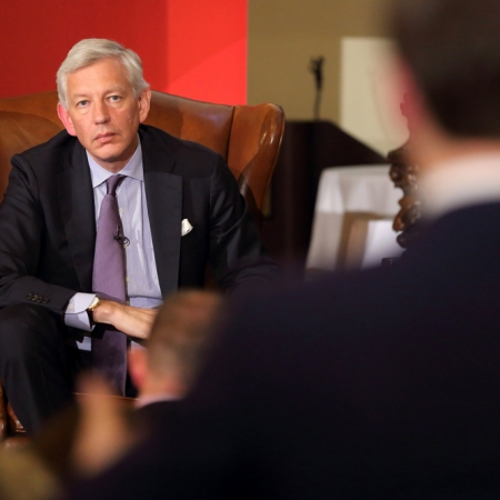 Dominic Barton, Global Managing Director of McKinsey & Co, takes questions from the audience