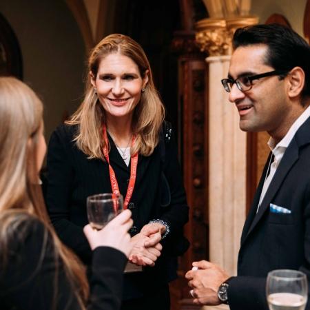 November 2, 2017 - Sarah Travis, MMF'19, Tiffany Phelps (Desautels University Advancement) and Avinash Sarwal (BA'99), Director of Investments at Joddes Limited