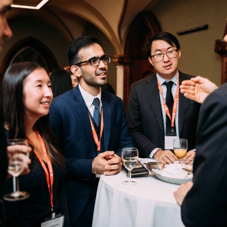 November 2, 2017 - MMF students Joanie Grimard, Simranjit Saluja, and Colin Shen in an engaging conversation with Matthew Ingrassia (MBA'07), Senior Director of Research at Applied Research Investments
