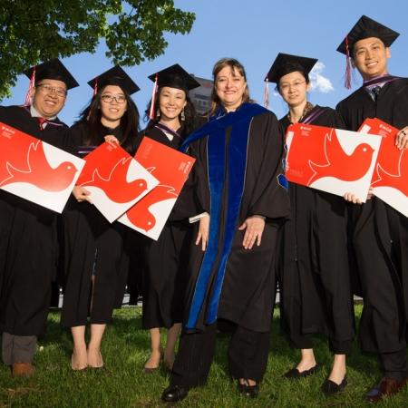 Dean Isabelle Bajeux-Besnainou with MBA'17 graduates