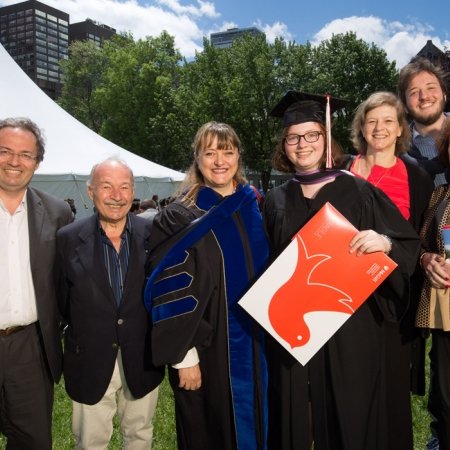Sophie Brat, BCom'17 and family with Dean Isabelle Bajeux