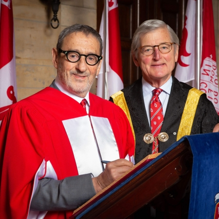 Honorary Doctorate Gerald Sheff and McGill Chancellor Michael Meighen.