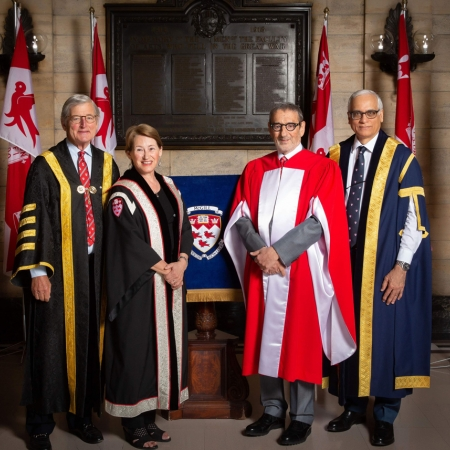 On Thursday, May 31, 2018, real estate developer and investment firm founder Gerald Sheff received his Doctor of Laws, honoris causa. Pictured (left to right): McGill Chancellor Michael Meighen, Principal and Vice-Chancellor Suzanne Fortier, Honorary Doctorate recipient Gerlad Sheff and Chair of McGill Board of Governors Ram Panda.