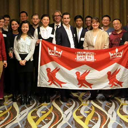 Dean Bajeux-Besnainou with current students and alumni at the Shanghai reception