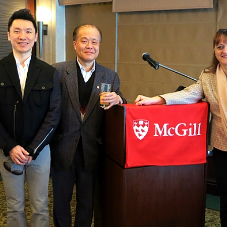 Dean Bajeux-Besnainou with McGill alumni in Hong Kong