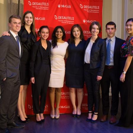 Desautels undergraduate students belonging to the organizing committee of the 2017 Desautels Management Achievement Awards