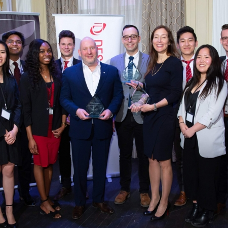 Members of the Organizing Committee for DMAA 2019 with Dani Reiss, CEO and President, Canada Goose (Management Achievement Award);  Hicham Ratnani (BEng '08), COO and Co-founder, Frank And Oak (DMAA Young Inspiration Achievement Award); and, France Margaret Bélanger (EMBA'14), Executive Vice-president, Commercial and Corporate Affairs, Montréal Canadiens (Management Achievement Award).