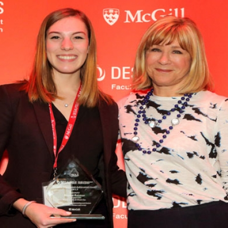 Heather Reisman, Founder, Chairman & CEO, Indigo Books & Music (right) 2015 DMAA and recipient and BCom student, Anne-Sophie Martin.