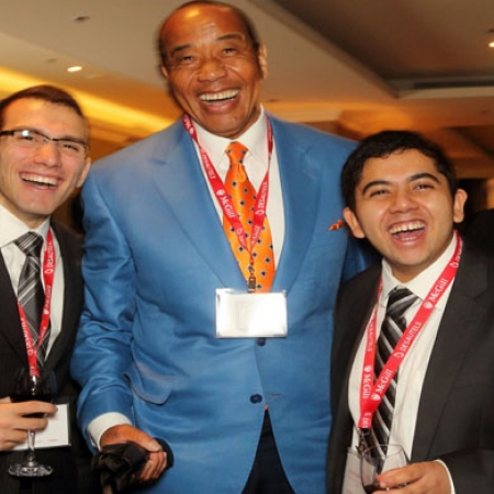 Michael Lee-Chin, Executive Chairman, Portland Investment Counsel Inc.  (centre) 2015 DMAA recipient and BCom students