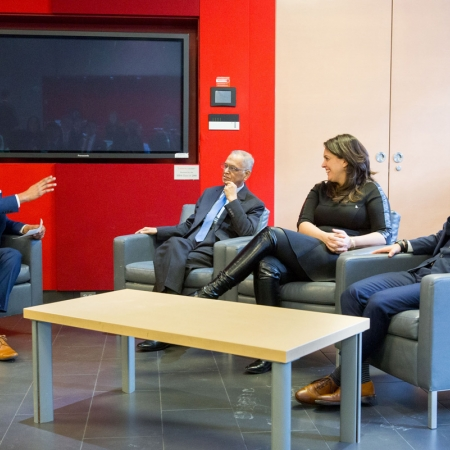 Breakfast with Award Winners Narayana Murthy (DSc'15), Co-Founder and Chairman Emeritus Infosys, Marie-Josée Lamothe, Managing Director, Google QC and Managing Director Branding, Google Canada, Daniel Saks (BA'07), President and Co-CEO, AppDirect