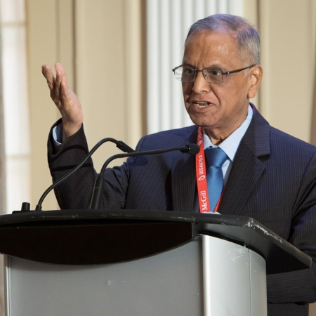 2018 Desautels Management Achievement Award recipient Narayana Murthy (DSc'15), Co-Founder and Chairman Emeritus Infosys, delivers award acceptance remarks