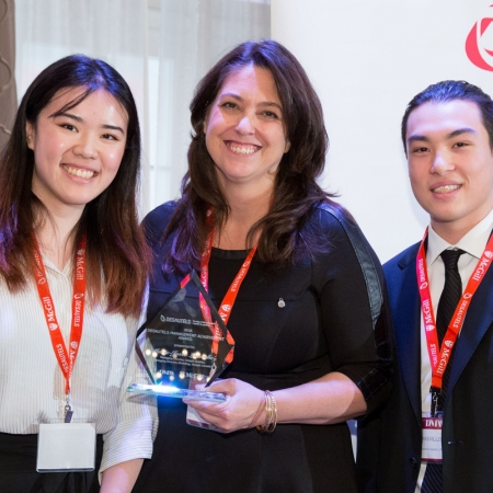 From left to right: BCom student Ivy Chen, recipient of the Management Achievement Award Marie-Josée Lamothe, Managing Director, Google QC and Managing Director Branding, Google Canada, and BCom student Thomas Villeneuve